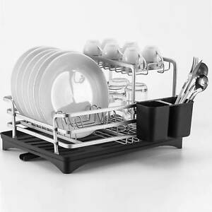 Silver 2 Tier Aluminium Dish rack Drainer, Removable Tray and Cutlery Holder CA~
