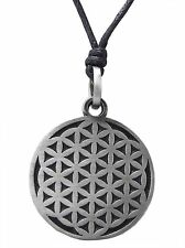 Pewter FLOWER OF LIFE Pendant on Black Cord Necklace Nickel Free BMTH Celtic