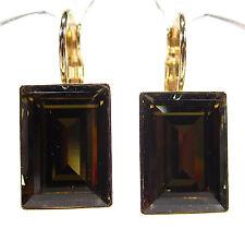 SoHo® Ohrhänger geschliffene Kristalle 14/10 rechteck gold smoky quartz braun