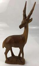 """10"""" vintage main Bois sculpté en bois Ibex DEER HORN Ornement gazelle antilope"""