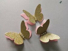 20x Pink and Gold Party Table Decorations 3D Paper Butterflies Wedding Birthday