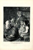 Puppentheater XL 1896 Kunstdruck von Hermann Kaulbach München Kasperletheater