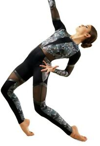 Dance Costume Large Adult  Silver Modern Acro Contemporary  Weissmans 11435