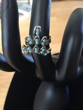 LOVELY  SILVER TONED FAUX TURQUOISE BEADED RING SIZE 9.5