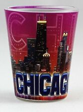 CHICAGO ILLINOIS PURPLE COLLAGE SHOT GLASS SHOTGLASS