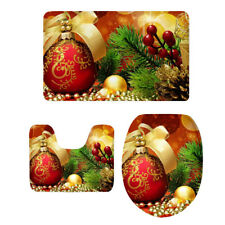 3 PC Toilet Seat Cover Novelty Christmas Holiday Bathroom Mat Decor Gift