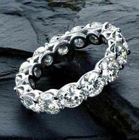 Certified 3 Ct Round Moissanite Anniversary Wedding Band Ring In 14K White Gold