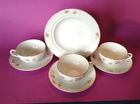 Nippon 3 Tea Cups And Saucers And Bowl - Hand Painted Roses - Gold Rims - Japan