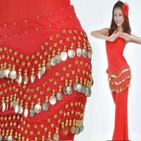 Belly Dance 3 Rows Gold Coin Belt Hip Scarf Skirt Wrap Chain Dancing Costume