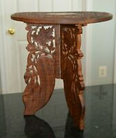 Vintage Hand Carved Small Wooden Table/Plant Stand-Inlaid Taj Mahal India