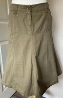 Fat Face Khaki Utility Green High Waisted A Line Skirt Size 10 Pockets