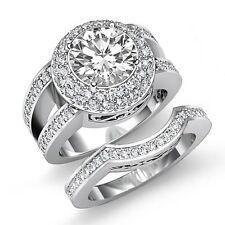 3.75ct Round Halo Diamond Bridal Set Engagement Ring GIA F VS2 14k White Gold