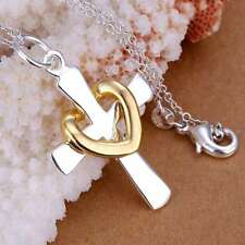 925Sterling Solid Silver Jewelry Gold Heart Cross Chain Pendant Necklace P094