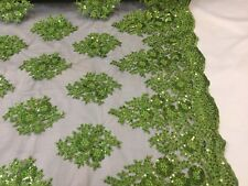 Lace Fabric Sequins Mesh For Dress Decoration & Bridal Veil Lime Green By 1 Yard