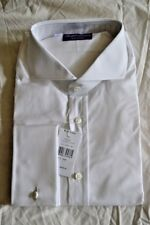 $495NWT PURPLE LABEL Ralph Lauren 17.5 e44 White Keaton cotton TWILL dress shirt