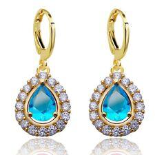 Princess Teardrop Cubic Zircon Yellow Gold Filled Women Lady Drop Earrings