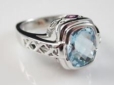 18K Aquamarine Ring Pink Sapphire White Gold Estate Aqua Blue Genuine Size 6.25