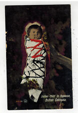 Mint Real Picture Postcard Native American Indian BC Canada Baby in Papoose