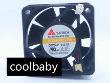 2pcs Y.S.TECH FD246025EB 6025 60mm DC 24V 0.21A power inverter axial cooling fan