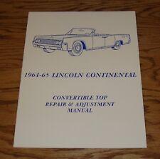 1964 1965 Lincoln Continental Convertible Top Repair & Adjustment Manual 64 65
