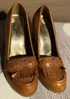 New Look Womens Block High Heels Fringe Detail Court Shoes U.K. Size 6 Tan BNWOB