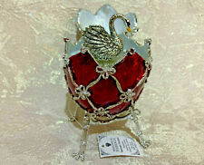 Faberge Egg Musical Swan in the Red Egg (4.6). Plays Swan Lake. Made in Russia