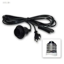 Kabel mit Fassung E27 Lampenfassung + Schalter 3,5m Netzkabel Euro-Stecker BLACK