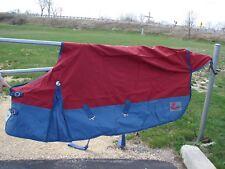 Size 72 Horze 420 Denier Waterproof Rain Sheet Burgundy Red & Blue