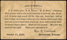 1887 WANTED Notice - McPherson Kansas