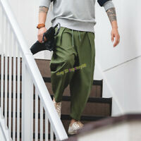 Vintage Army Harem Pants Men's Multi-pocket Baggy Work Casual Pleated Trousers