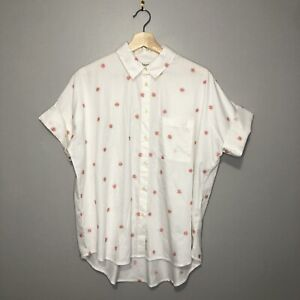 NWT Madewell Embroidered Daisy Courier Shirt Medium Pink