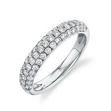 Dome Wedding Band 14K White Gold Diamond Pave Ring Round Cut Womens Size 7 4MM