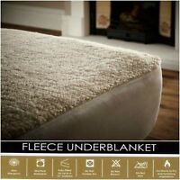 WINTER LUXURY MATTRESS PROTECTOR FLEECE UNDER BLANKET  FITTED BED COVER