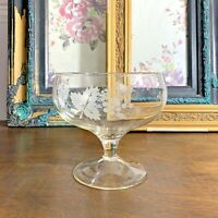 VINTAGE FOOTED BOWL ETCHED PATTERN WINE GRAPE WITH LEAVES