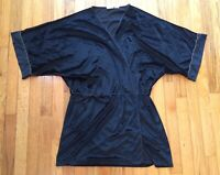 Vintage 80's Black Crushed Velvet Gold Trim Women's 1X Sexy Sissy Housewife Robe