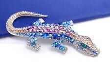 """(*W) Large 4 1/8"""" High End Crystal Rhinestone Alligator Lizard Brooch Pin #1"""