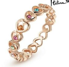 18K ROSE GOLD PLATED AUSTRIAN CRYSTAL JOINED LOVE HEART RING. SIZE: L, M, N