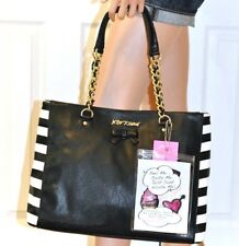 Betsey Johnson Black Tote Bag Purse Pizza Donut Ice Cream Heart Patches NWT