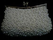 WHITE IVORY PEARL Hand Bead Evening Bag CLUTCH B008