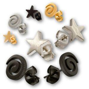Edelstahl Ohrstecker Spirale Sterne Damen Kinder Ohrringe Stecker silber gold