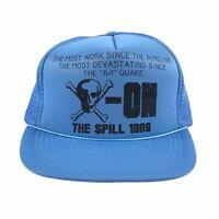 Vintage 1989 EXXON Valdez Oil Spill Protest Hat Mesh Trucker Snapback Cap RARE