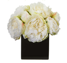 """Peony Artificial Flower Arrangement In Black Vase Nearly Natural White 9""""Tall"""