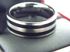 Men's TRITON Tungsten Carbide Two Tone Striped Band Ring Sz 10 #70
