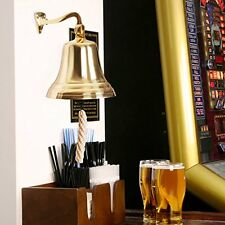 "8"" Brass Ship Bell Wall Hanging Bracket Pub School Dinner"