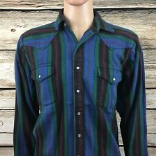 Osh Kosh B'Gosh Men's Lt Large Tall Pearl Snap Lumberjack Striped Flannel Vtg