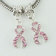 Czech Crystal Enamel Ribbon Breast Cancer Awareness Big Hole European Charm Bead
