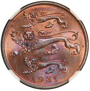 1931 Estonia 5 Senti Bronze Coin - NGC MS 64 RB - KM# 11