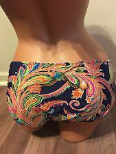 NWT Lauren Ralph Lauren Swimsuit Bottoms Size 14 Navy Floral Gold Ring Side