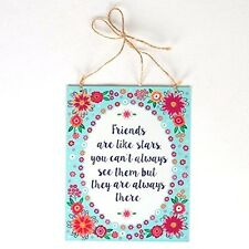 Gift For Friend - Friends Are Like Stars - Tin Plaque Blue Floral Sass & Belle