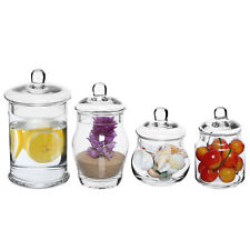 Set of 4 Small Clear Glass Apothecary Jars, Storage Canisters with Lids
